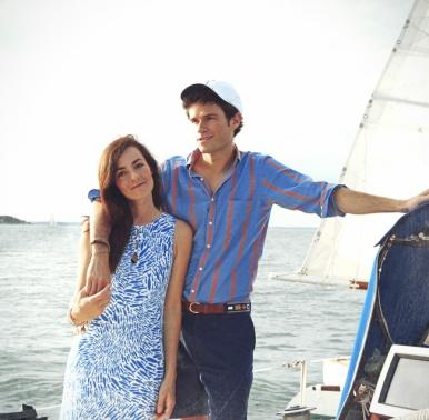 Sarah and Kiel at sea